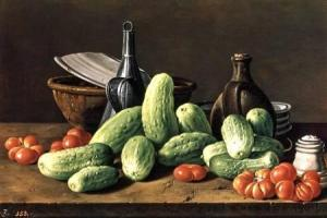 Gherkins and Tomatoes, by Luis Egidio Meléndez