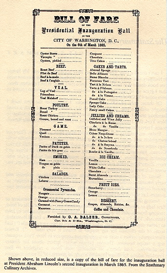 Inaugural Menu for Lincoln's Second Term