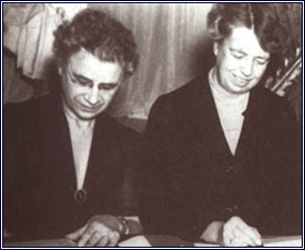 Henrietta Nesbitt, on left, with Eleanor Roosevelt