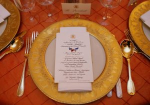Table Setting (for French president Sarkozy in 2007; White House photo by Shealah Craighead))