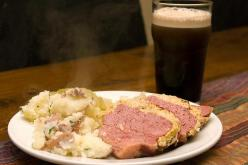 Corned beef, Cabbage, Mash, and Guinness