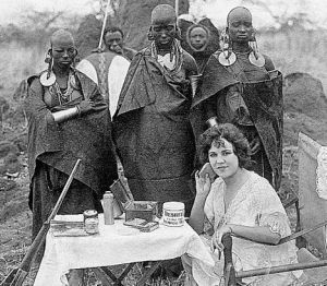 Osa Johnson and masai Tribesmen on Safari, 1930s