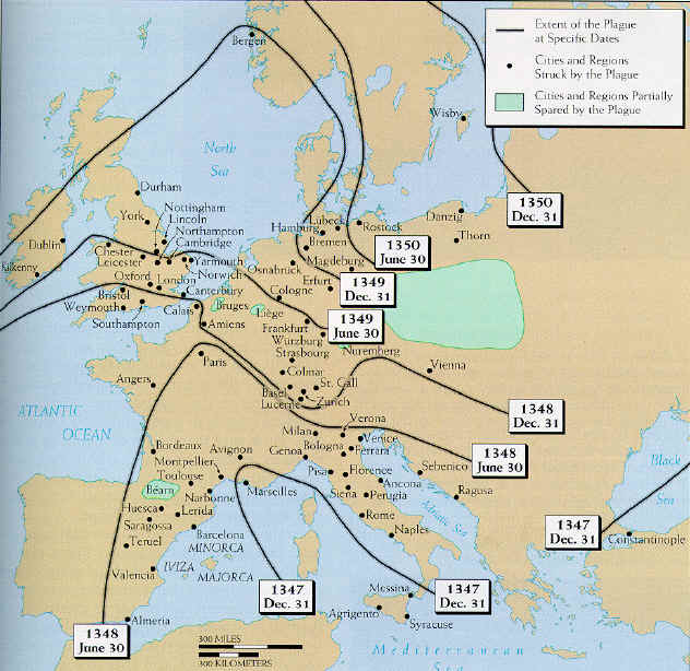 The Spread of the 14th C. Black Death
