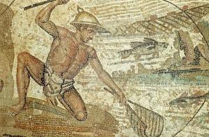 Roman Mosaic of Man Fishing, Tripoli Museum (Photo credit: Michael Jefferies)