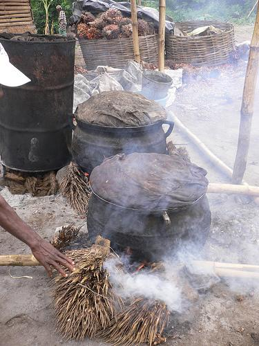 Boiling the palm oil fruits. (Photo credit: One Village Initiative)