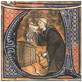A Monk as Wine-Cellar Taster