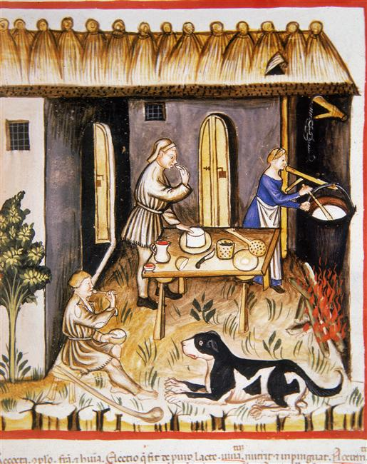 Making White Cheese During the Middle Ages (From Tacuinum Sanitatis (ÖNB Codex Vindobonensis, series nova 2644), c. 1370-1400)