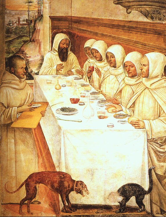 St. benedict eating with his monks