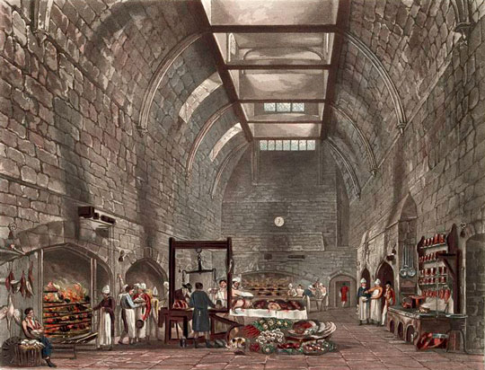 Kitchen at Windsor Castle (1819 illustration)