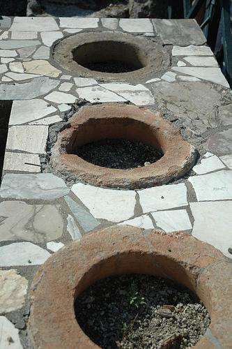 Ancient cooking pots at Pompeii.