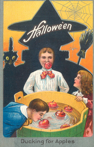 Halloween  Apple Bobbing Postcard