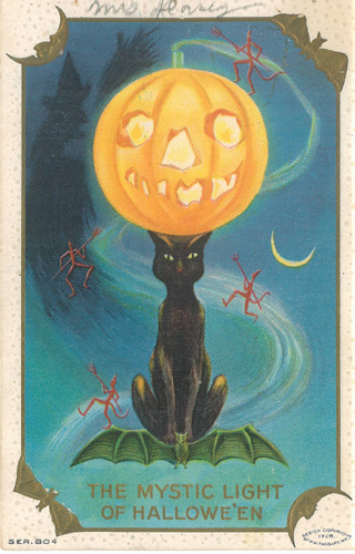 Halloween Mystic Vintage Card Pumpkin Black Cat