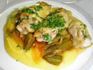 Polenta angu chicken with okra and mush Brazil