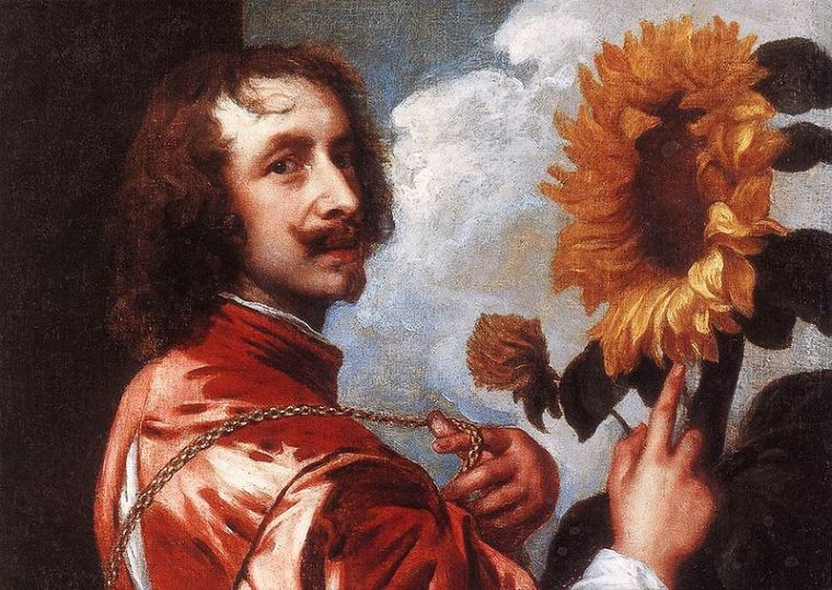 Sunflowers Anthony van Dyck self portrait