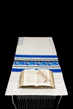 Jewish Prayer Shawl, Prayer Book, And Glasses