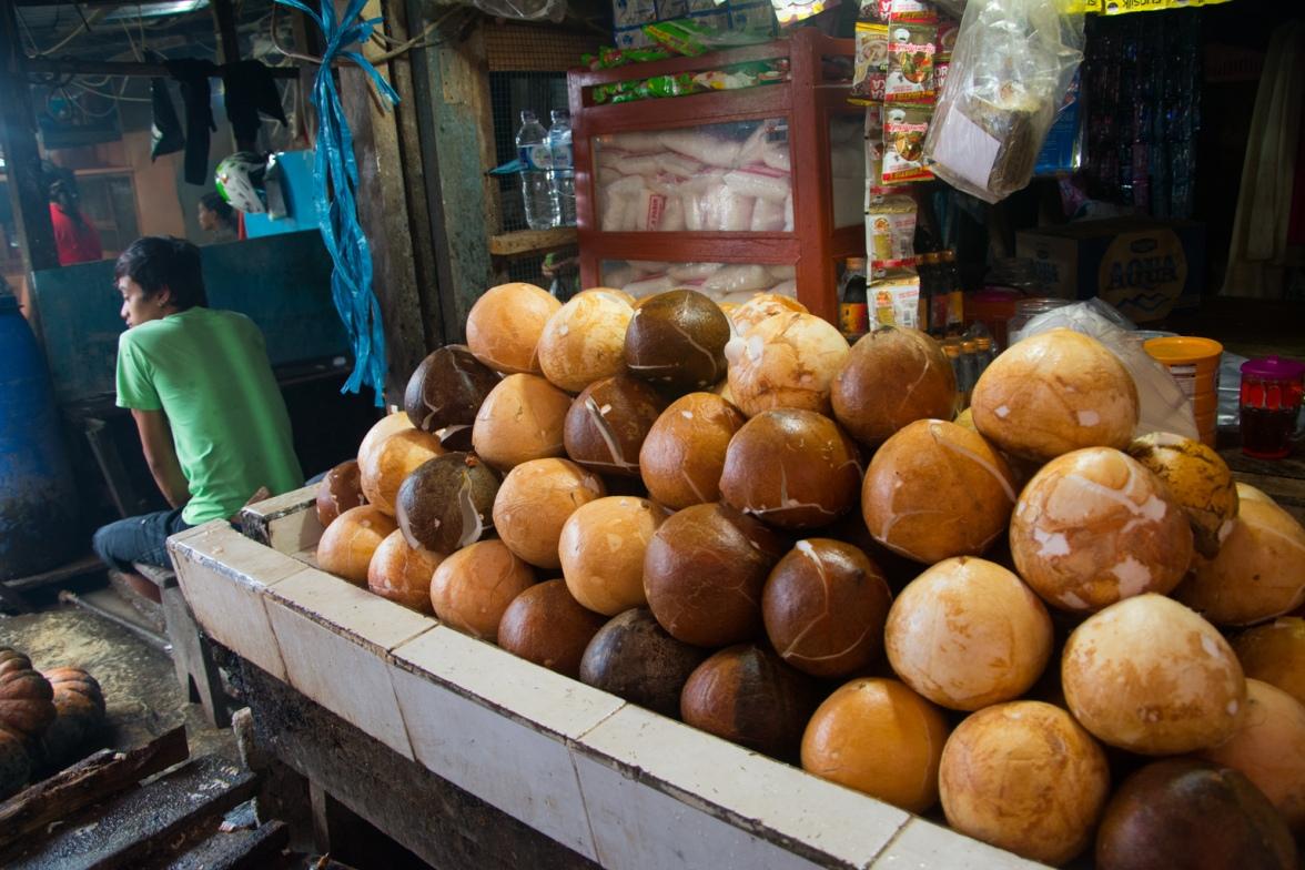 Manado market shelled coconuts