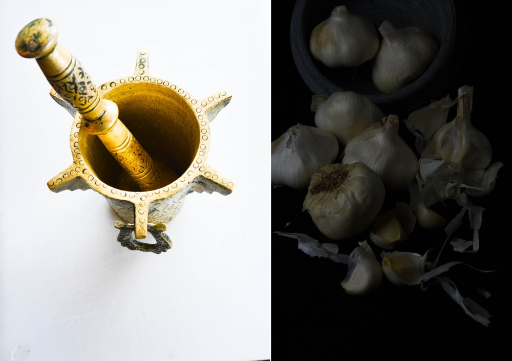 5 Mortar pestle garlic montage