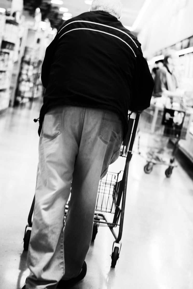 Elderly man grocery store