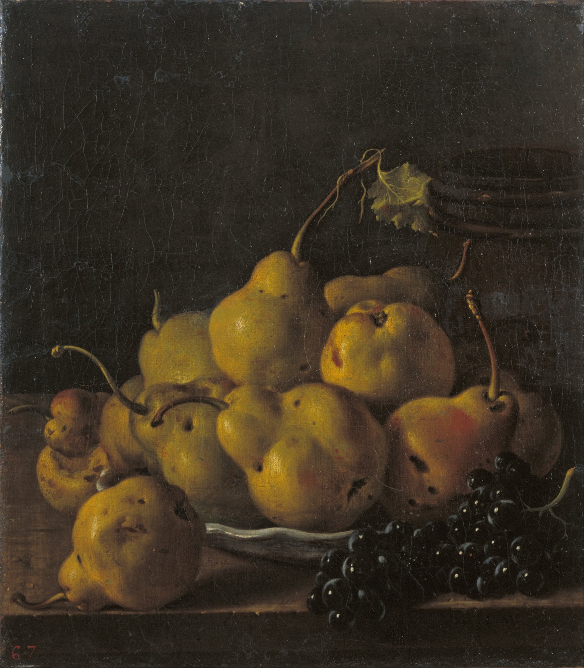 "Luis Meléndez -""Still Life with Pears and Grapes"""