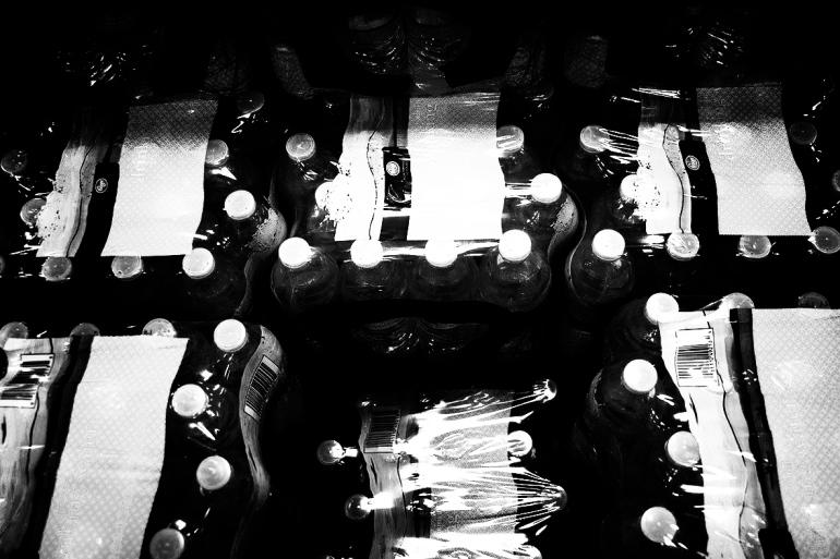 Water bottles rs wet rocks