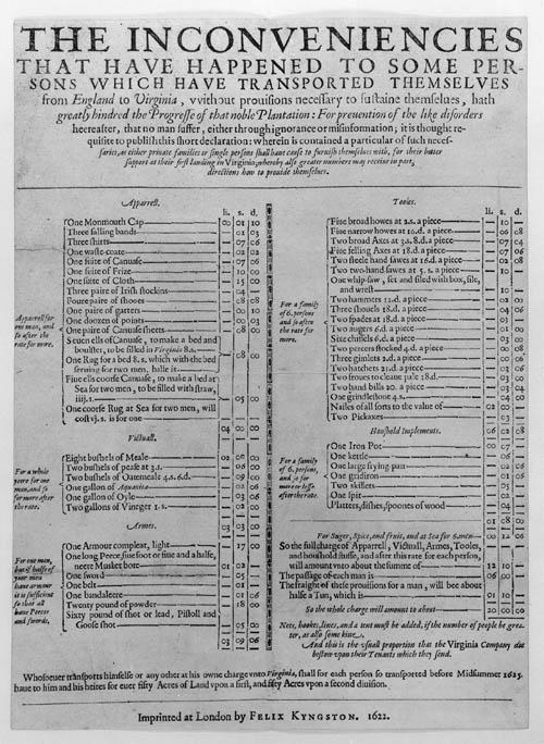 Jamestown supplies 1622 inconveniencies