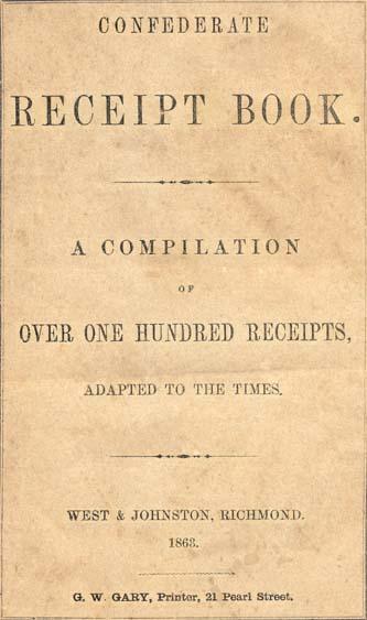 Confederate receipt book